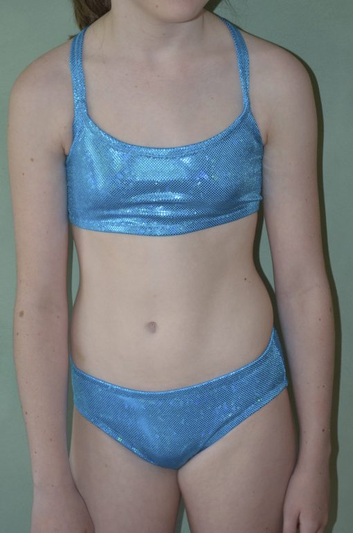 Aqua crop top and bottom (front view)